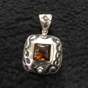 Silpada Sterling and amber slide